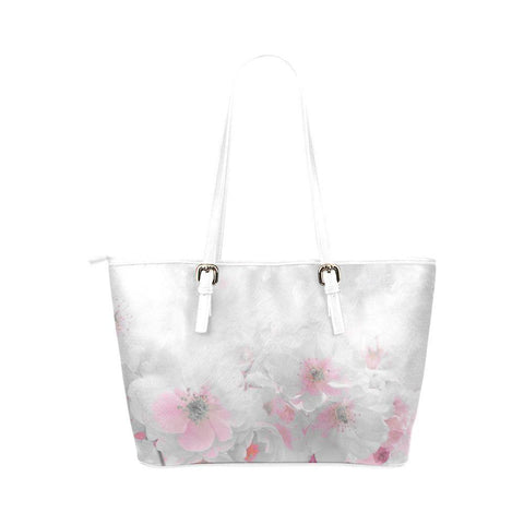 Delicate Blossoms Leather Tote Bag - dianadu-designs