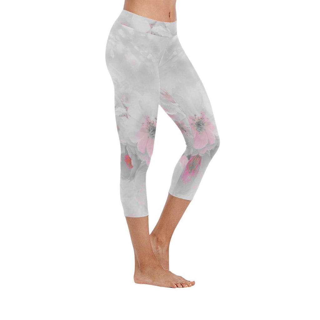 Delicate Blossoms Low Rise Capri Leggings - dianadu-designs