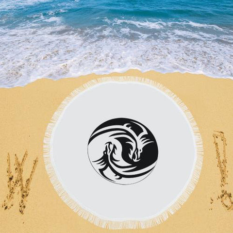 Dragon Yin and Yang Circular Beach Shawl - dianadu-designs