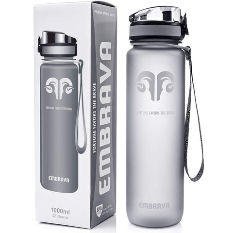 Embrava Best Sports Water Bottle - 32oz Large - Fast Flow, Flip Top Leak Proof Lid w/One Click Open - Non-Toxic BPA Free & Eco-Friendly Tritan Co-Polyester Plastic - dianadu-designs