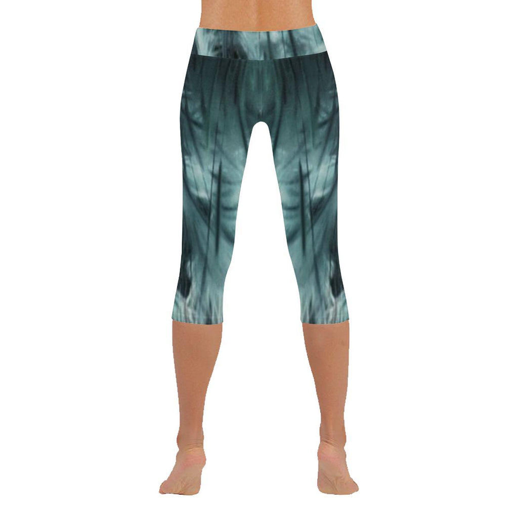 Ethereal Marshland Low Rise Capri Leggings - dianadu-designs