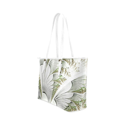 Feathery Elegance Leather Tote Bag - dianadu-designs