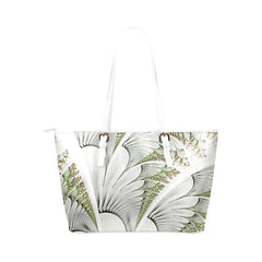 Feathery Elegance Leather Tote Bag