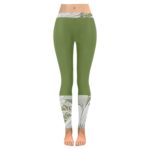 Feathery Elegance Low Rise Women's Legging - dianadu-designs