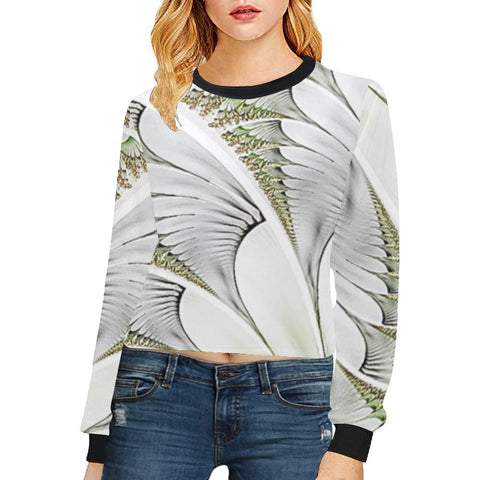 Feathery Elegance Women's Cropped Pullover Sweatshirt - dianadu-designs