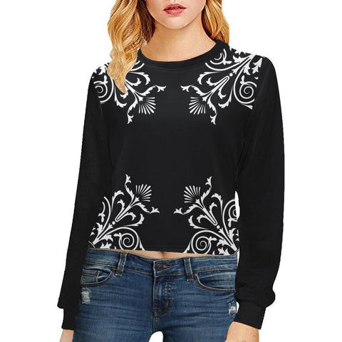 Filigrees Women's Cropped Pullover Sweatshirt - dianadu-designs