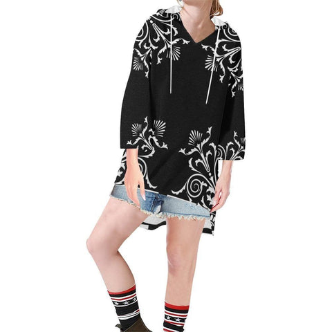 Filigrees Women's V-neck Step Hem Tunic Hoodie - dianadu-designs