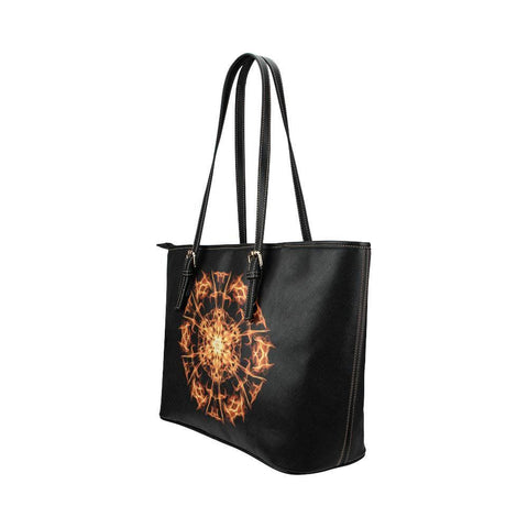 Fire Mandala Leather Tote Bag - dianadu-designs