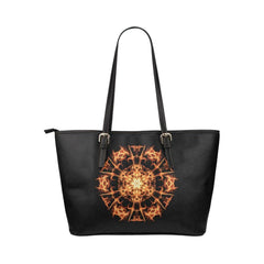 Fire Mandala Leather Tote Bag