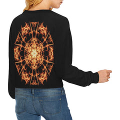 Fire Mandala Women's Cropped Pullover Sweatshirt