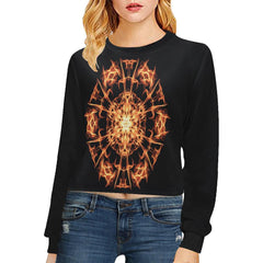 Fire Mandala Women's Cropped Pullover Sweatshirt - dianadu-designs