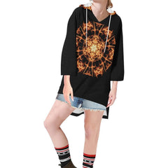 Fire Mandala Women's V-neck Step Hem Tunic Hoodie - dianadu-designs