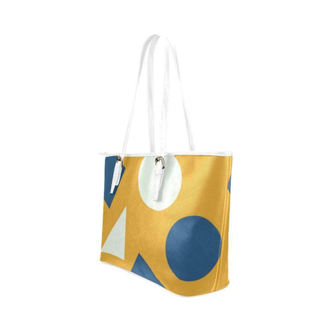 Geometric Abstract Leather Tote Bag - dianadu-designs