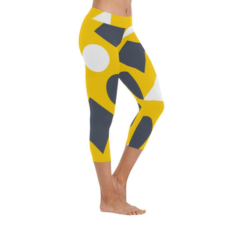 Geometric Abstract Low Rise Capri Leggings - dianadu-designs