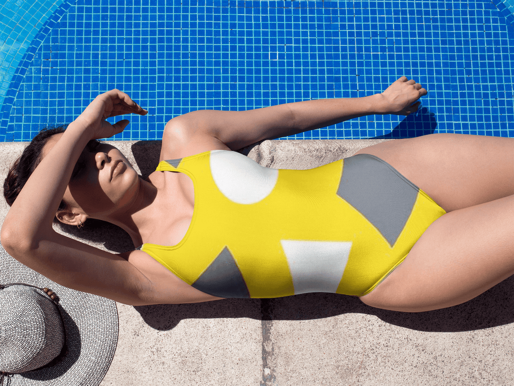 Geometric Abstract One-Piece Swimsuit - dianadu-designs