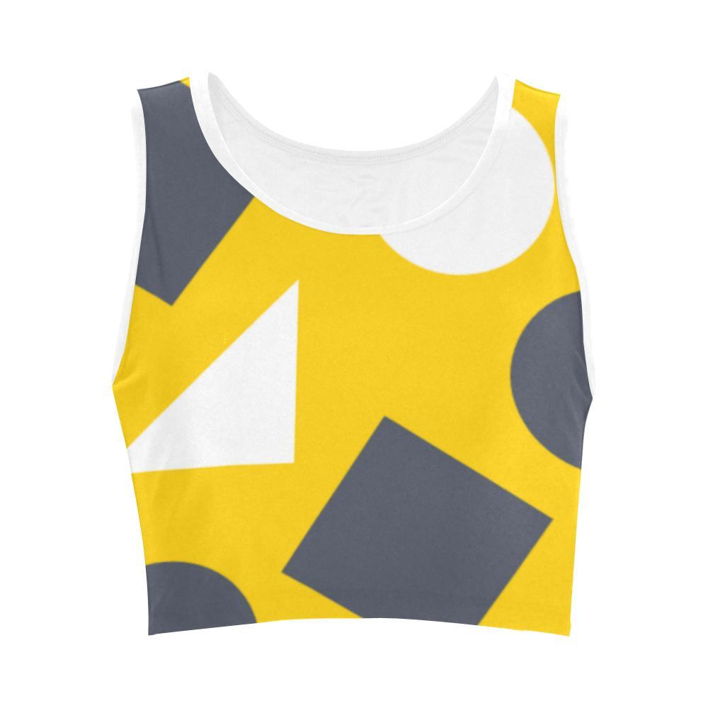 Geometric Abstract Women's Fitted Crop Top - dianadu-designs