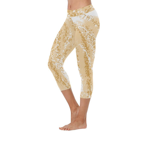 Golden Wheat Low Rise Capri Leggings - dianadu-designs