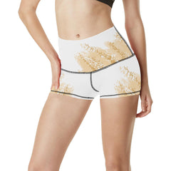 Golden Wheat Women's Yoga Shorts - dianadu-designs