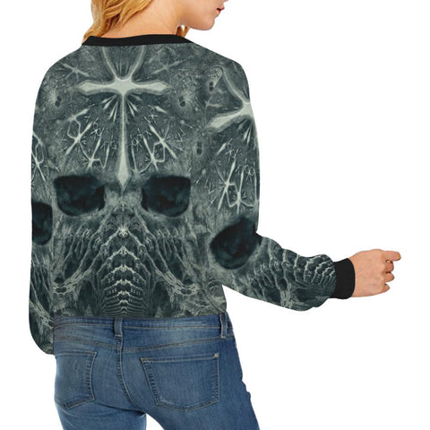 Hidden Guardian Women's Cropped Pullover Sweatshirt - dianadu-designs