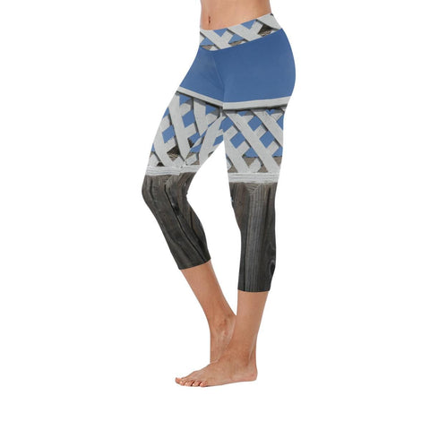 Lattice and Sky Low Rise Capri Leggings - dianadu-designs