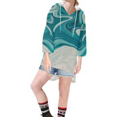 Lava Flow Women's V-neck Step Hem Tunic Hoodie - dianadu-designs