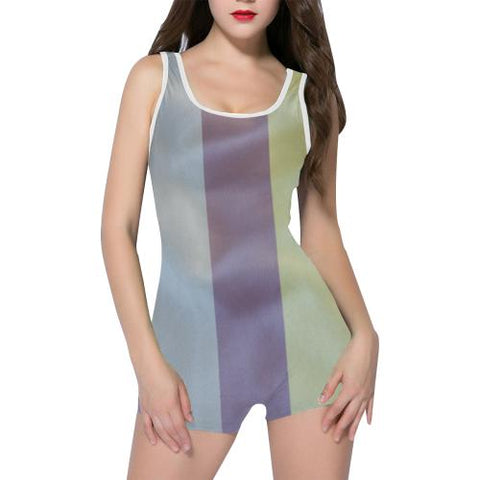 Linen Stripes Women's One Piece Romper - dianadu-designs