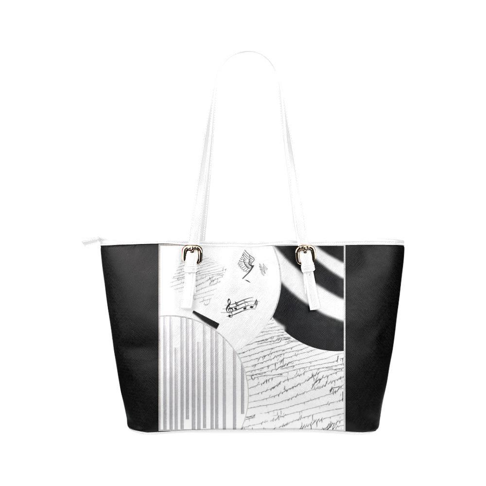 Montage in Black and White Leather Tote Bag - dianadu-designs