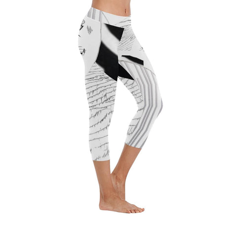 Montage in Black and White Low Rise Capri Leggings - dianadu-designs