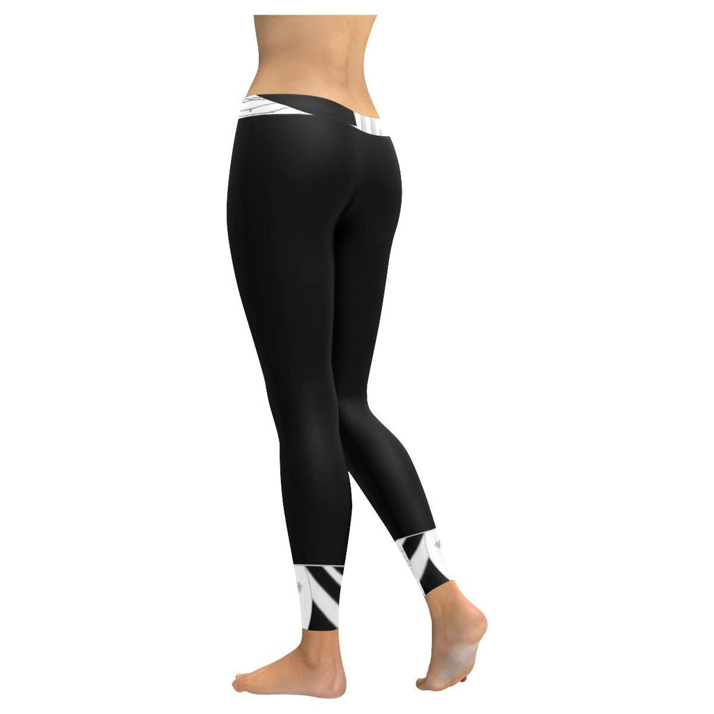 Montage in Black and White Low Rise Leggings - dianadu-designs
