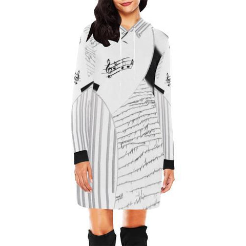 Montage in Black and White Women's Hoodie Mini Dress - dianadu-designs