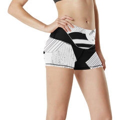 Montage in Black and White Women's Yoga Shorts