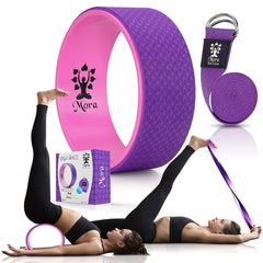 MORA Premium Yoga Wheel: Strong, Comfortable, Skid-Resistant, Thick Foam Dharma Yoga Prop for Stretching and Strengthening with Strap and Pose Guide