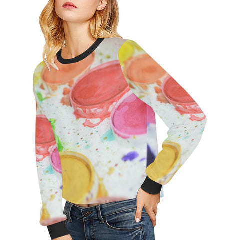 Paint by Number Women's Cropped Pullover Sweatshirt - dianadu-designs