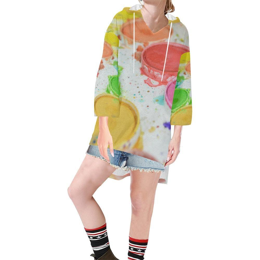 Paint by Number Women's V-neck Step Hem Tunic Hoodie - dianadu-designs