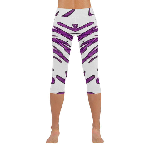 Purple Tornado Low Rise Capri Leggings - dianadu-designs