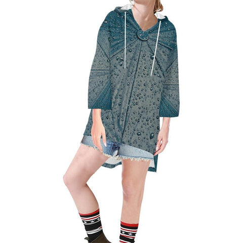Rain Women's V-neck Step Hem Tunic Hoodie - dianadu-designs