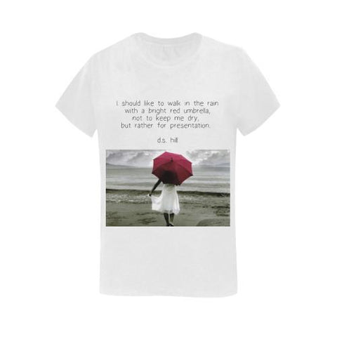 Red Umbrella  - Women's Short Sleeve T-Shirt - dianadu-designs