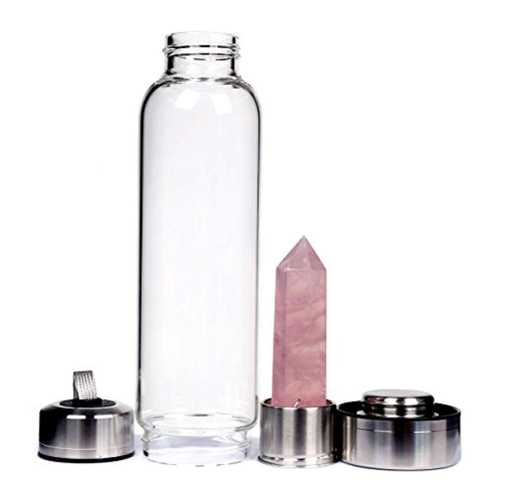 Rose Quartz Crystal Water Bottle, Gemstone Water Bottle, Crystal Water Bottle - dianadu-designs