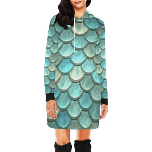 Shimmering Scales Women's Hoodie Mini Dress - dianadu-designs