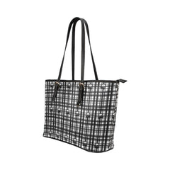 Skulls in Plaid Leather Tote Bag