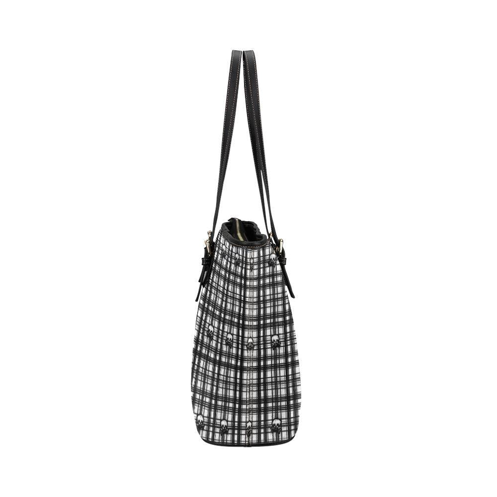 Skulls in Plaid Leather Tote Bag - dianadu-designs