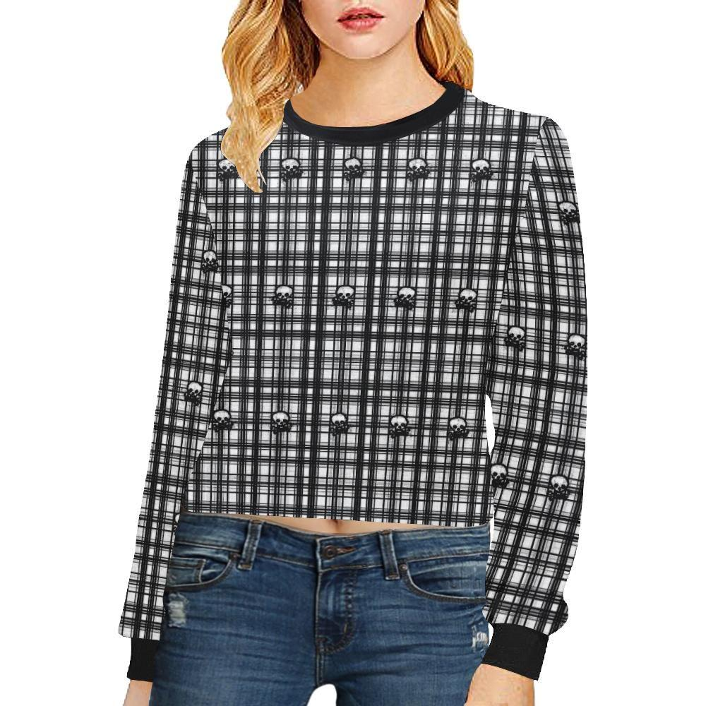 Skulls in Plaid Women's Cropped Pullover Sweatshirt - dianadu-designs