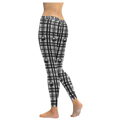 Skulls in Plaid Women's Low Rise Leggings