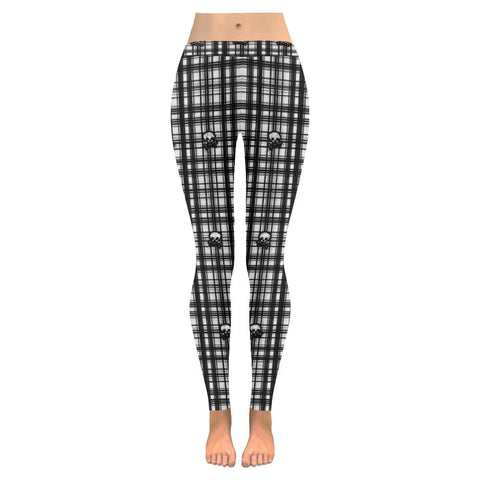 Skulls in Plaid Women's Low Rise Leggings - dianadu-designs