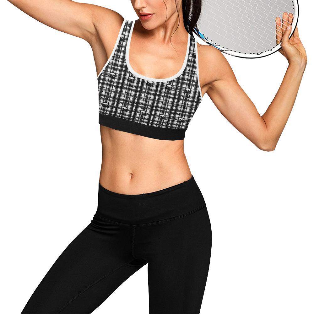 Skulls in Plaid Women's Sports Bra - dianadu-designs