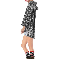 Skulls in Plaid Women's V-neck Step Hem Tunic Hoodie