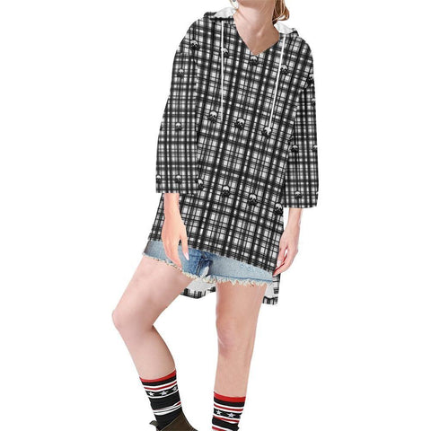 Skulls in Plaid Women's V-neck Step Hem Tunic Hoodie - dianadu-designs