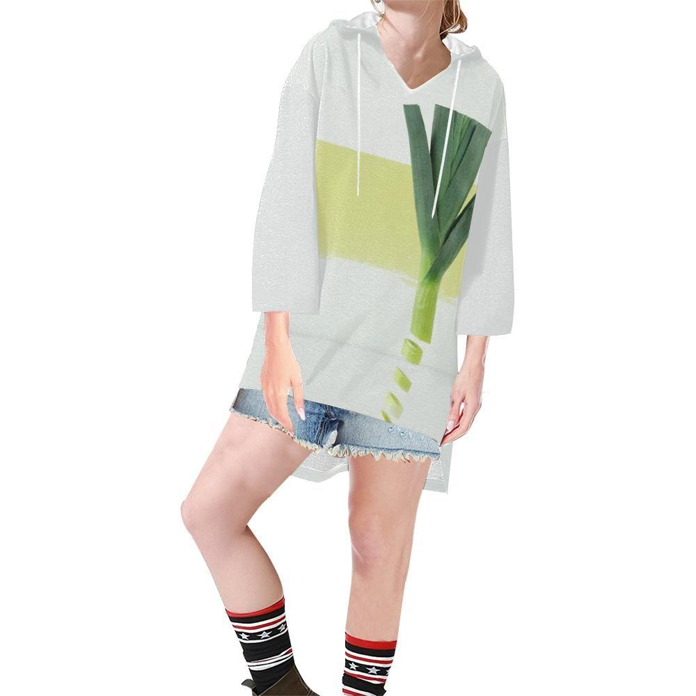 The Onion Women's V-neck Step Hem Tunic Hoodie - dianadu-designs