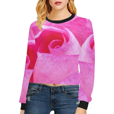 The Rose Women's Cropped Pullover Sweatshirt - dianadu-designs