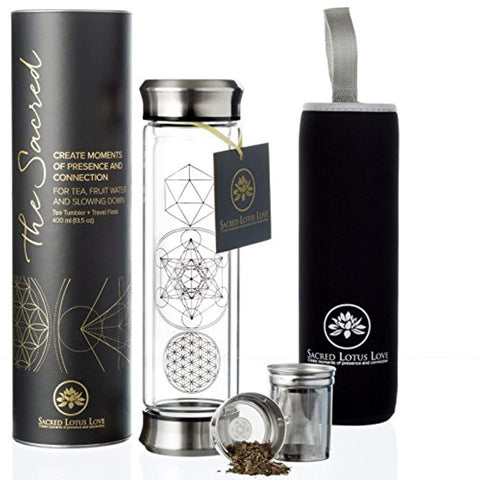 The Sacred Glass Tea Tumbler with Infuser + Strainer for Loose Leaf or Ice Tea. 14oz Cold Brew Coffee Mug or Fruit Water Travel Bottle. Free Sleeve. Beautifully Packaged. - dianadu-designs